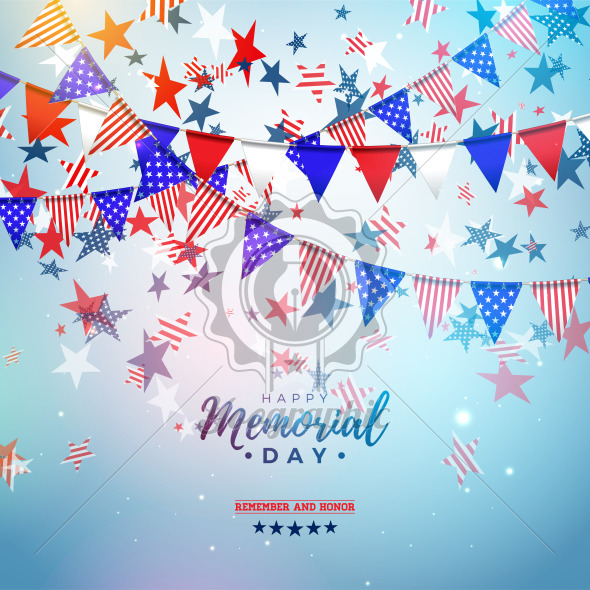 Memorial Day of the USA Vector Design Template with American Color Party Flag and Falling Stars on Shiny Blue Background. National Patriotic Celebration Illustration for Banner or Greeting Card - Royalty Free Vector Illustration