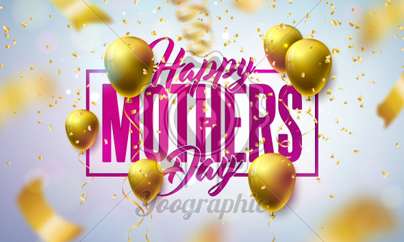 Happy Mother's Day Greeting Card Design with Gold Balloon and Falling Confetti on Light Background. Vector Celebration Illustration Template for Banner, Flyer, Invitation, Brochure, Poster. - Royalty Free Vector Illustration