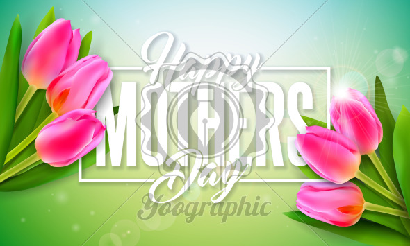 Happy Mother's Day Greeting Card Design with Tulip Flower and Typography Letter on Light Background. Vector Celebration Illustration Template for Banner, Flyer, Invitation, Brochure, Poster. - Royalty Free Vector Illustration