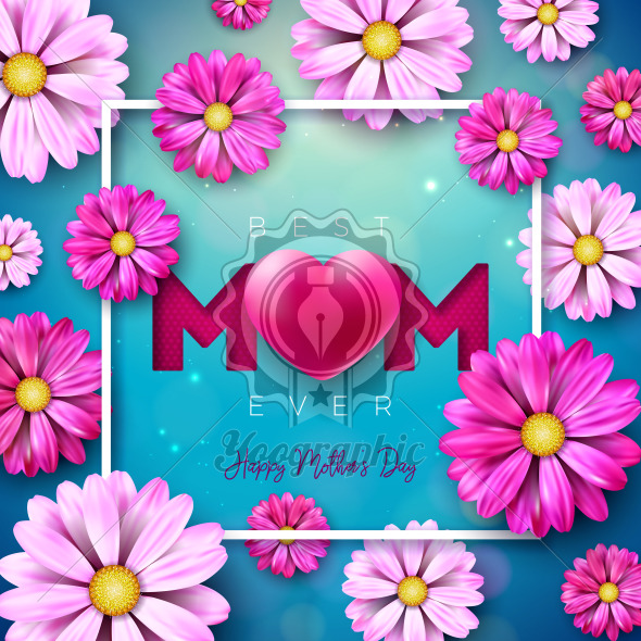 I Love You Mom. Happy Mother's Day Greeting Card Design with Flower and Red Heart on Blue Background. Vector Celebration Illustration Template for Banner, Flyer, Invitation, Brochure, Poster. - Royalty Free Vector Illustration