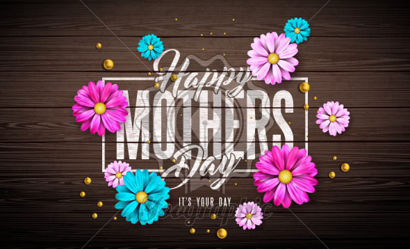 Happy Mother's Day Greeting Card Design with Flower and Typography Letter on Vintage Wood Background. Vector Celebration Illustration Template for Banner, Flyer, Invitation, Brochure, Poster. - Royalty Free Vector Illustration