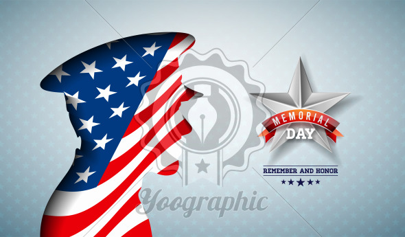Memorial Day of the USA Vector Illustration. American National Celebration Design with Flag in Patriotic Soldier Silhouette on Light Star Pattern Background for Banner, Greeting Card or Holiday Poster. - Royalty Free Vector Illustration