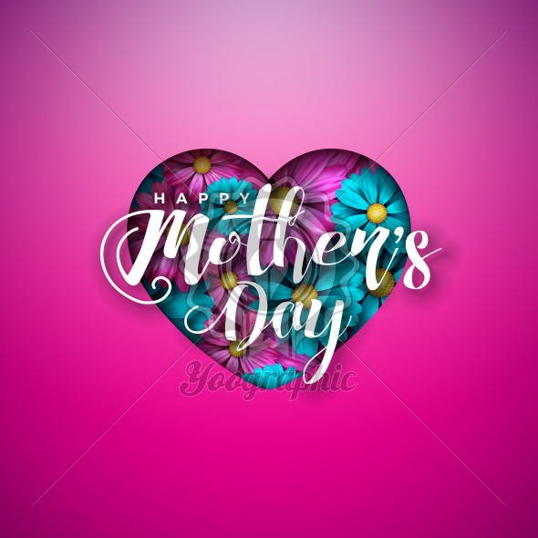 Happy Mother's Day Greeting Card Design with Flowers in Heart and Typography Letter on Pink Background. Vector Celebration Illustration Template for Banner, Flyer, Invitation, Brochure, Poster. - Royalty Free Vector Illustration