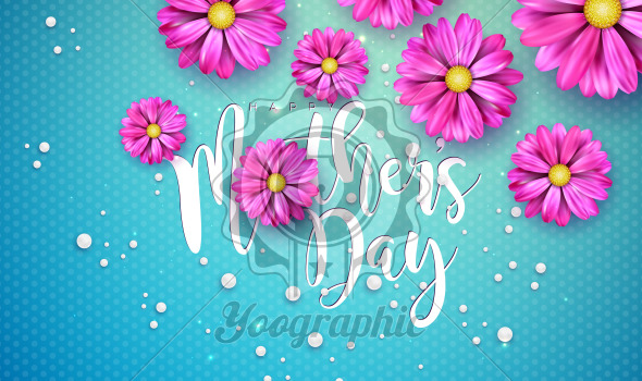 Happy Mother's Day Greeting Card Design with Flower and Typography Letter on Blue Background. Vector Celebration Illustration Template for Banner, Flyer, Invitation, Brochure, Poster. - Royalty Free Vector Illustration