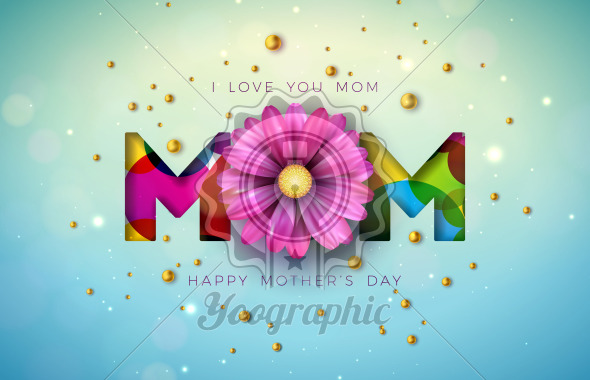 I Love You Mom. Happy Mother's Day Greeting Card Design with Flower and Pearl on Blue Background. Vector Celebration Illustration Template for Banner, Flyer, Invitation, Brochure, Poster. - Royalty Free Vector Illustration