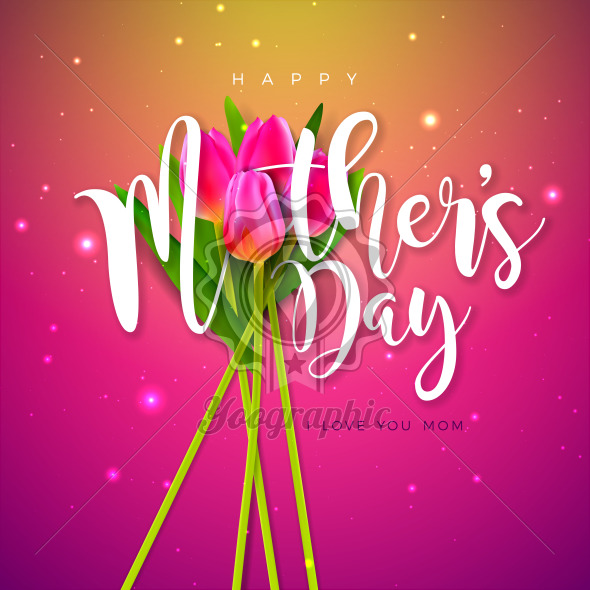 Happy Mother's Day Greeting Card Design with Tulip Flower and Typography Letter on Pink Background. Vector Celebration Illustration Template for Banner, Flyer, Invitation, Brochure, Poster. - Royalty Free Vector Illustration