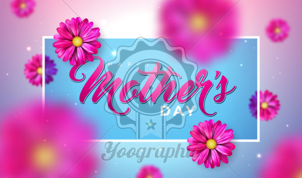 Happy Mother's Day Greeting Card Design with Falling Flower and Typography Letter on Pink Background. Vector Celebration Illustration Template for Banner, Flyer, Invitation, Brochure, Poster. - Royalty Free Vector Illustration