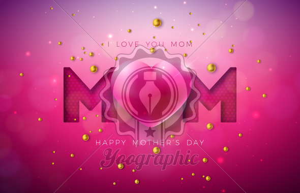 I Love You Mom. Happy Mother's Day Greeting Card Design with Heart and Pearl on Red Background. Vector Celebration Illustration Template for Banner, Flyer, Invitation, Brochure, Poster. - Royalty Free Vector Illustration