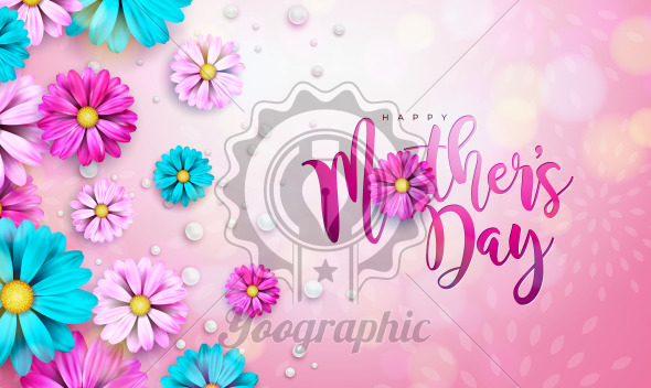 Happy Mother's Day Greeting Card Design with Flower and Typography Letter on Pink Background. Vector Celebration Illustration Template for Banner, Flyer, Invitation, Brochure, Poster. - Royalty Free Vector Illustration