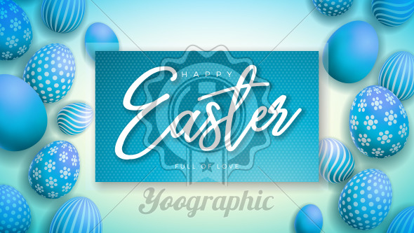 Happy Easter Illustration with Colorful Painted Egg on Light Blue Background. International Holiday Celebration Vector Design Template for Greeting Card, Party Invitation or Promo Banner. - Royalty Free Vector Illustration
