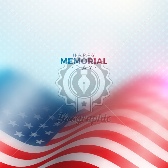 Memorial Day of the USA Vector Design Template with Blured American Flag on Light Star Pattern Background. National Patriotic Celebration Illustration for Banner, Greeting Card, Invitation or Holiday Poster. - Royalty Free Vector Illustration