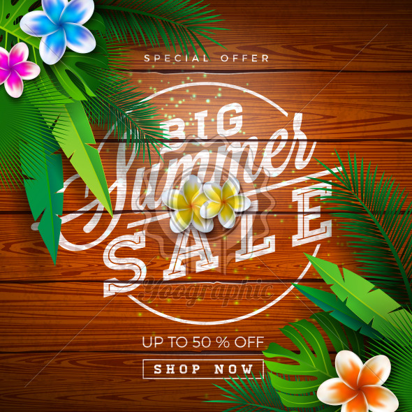 Big Summer Sale Design with Typography Letter and Exotic Palm Leaves on Vintage Wood Background. Tropical Vector Special Offer Illustration with Coupon, Voucher, Banner, Flyer, Promotional Poster, Invitation or Greeting Card. - Royalty Free Vector Illustration