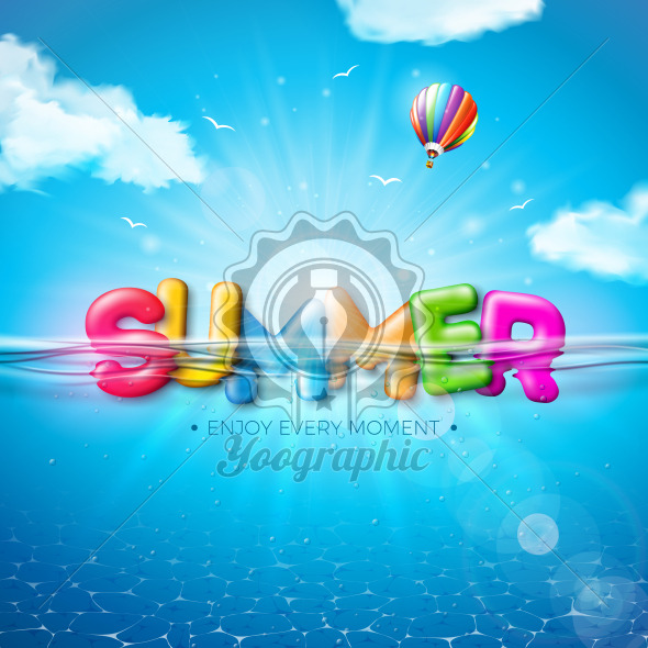 Vector Summer Illustration with Colorful 3d Typography Letter on Underwater Blue Ocean Background. Realistic Summer Vacation Holiday Design for Banner, Flyer, Invitation, Brochure, Poster or Greeting Card. - Royalty Free Vector Illustration