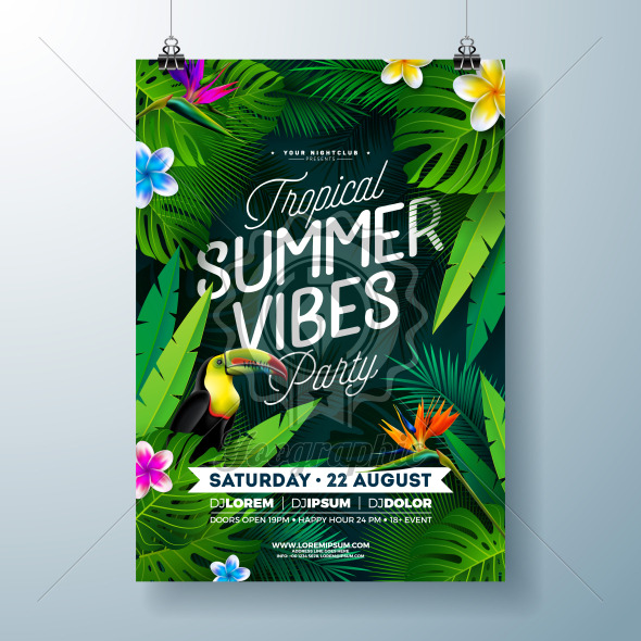 Tropical Summer Vibes Party Flyer Design with Flower, Tropical Palm Leaves and Toucan Bird on Dark Background. Vector Summer Beach Celebration Illustration Template with Typograpy Letter for Banner, Flyer, Invitation or Holiday Poster. - Royalty Free Vector Illustration