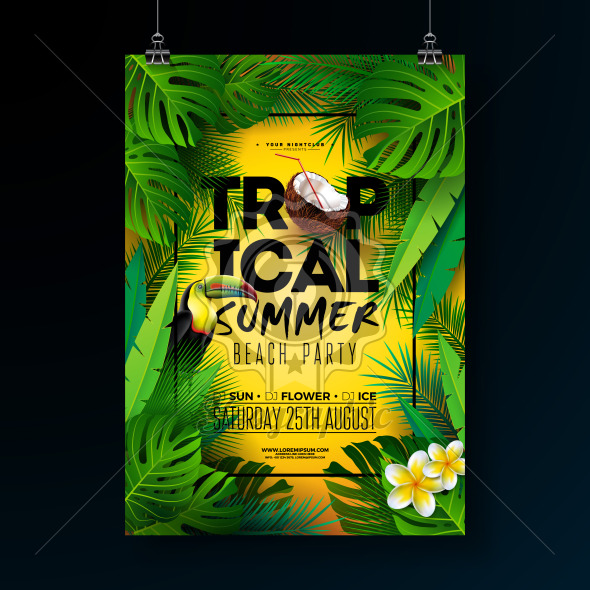 Tropical Summer Beach Party Flyer Design with Flower, Tropical Palm Leaves and Toucan Bird on Sun Yellow Background. Vector Summer Beach Celebration Illustration Template with Typograpy Letter for Banner, Flyer, Invitation or Holiday Poster. - Royalty Free Vector Illustration