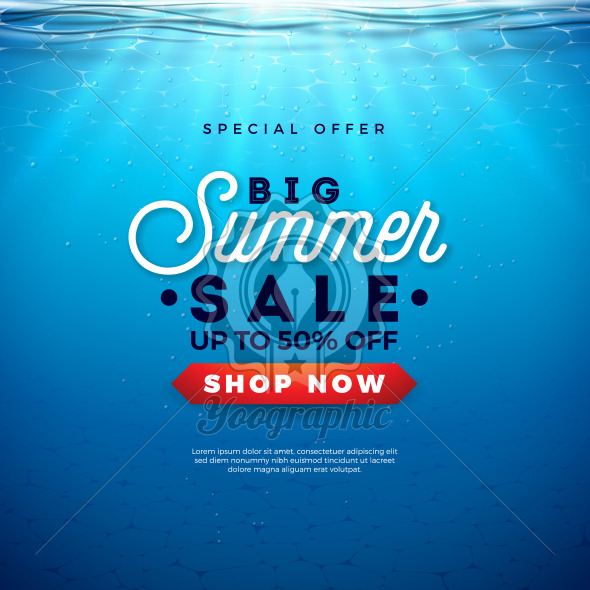 Big Summer Sale Design with Holiday Typography Letter and Sunrise on Underwater Blue Ocean Background. Seasonal Vector Illustration for Coupon, Voucher, Banner, Flyer, Promotional Poster, Invitation or Greeting Card. - Royalty Free Vector Illustration