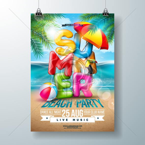 Vector Summer Beach Party Flyer Design with 3d Typography Letter and Tropical Palm Leaves on Ocean Landscape Background. Summer Vacation Holiday Design Template with Toucan Bird, Beach Ball and Sunshade for Banner, Flyer, Invitation or Celebration Poster. - Royalty Free Vector Illustration
