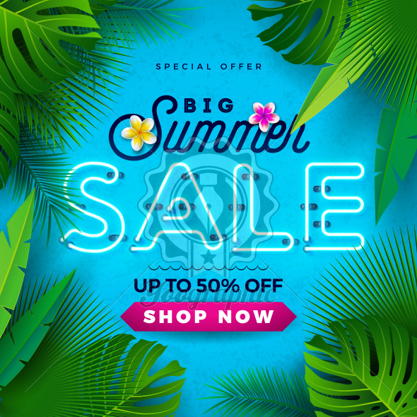 Summer Sale Design with Bright Neon Text and Flower on Blue Background. Tropical Vector Special Offer Illustration with Typography Letter for Coupon, Voucher, Banner, Flyer, Promotional Poster, Invitation or greeting card. - Royalty Free Vector Illustration