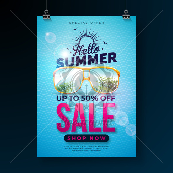 Hello Summer Sale Design with Typography Letter and Exotic Palm Leaves in Sun Glasses on Blue Background. Tropical Vector Special Offer Illustration with Coupon, Voucher, Banner, Flyer, Promotional Poster, Invitation or Greeting Card. - Royalty Free Vector Illustration
