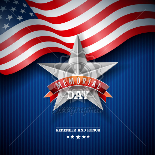 Memorial Day of the USA Vector Design Template with American Flag on Falling Colorful Star Background. National Patriotic Celebration Illustration for Banner, Greeting Card, Invitation or Poster. - Royalty Free Vector Illustration