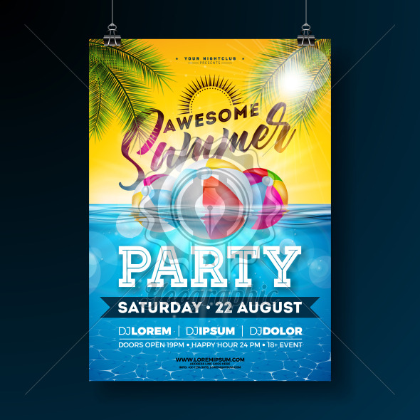 Summer Pool Party Poster Design Template with Palm Leaves, Water and Beach Ball on Blue Underwater Ocean Background. Vector Holiday Illustration for Banner, Flyer, Invitation, Poster. - Royalty Free Vector Illustration