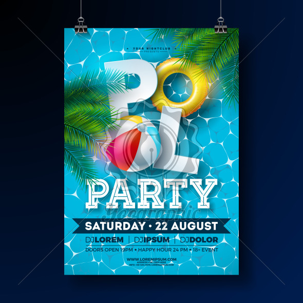 Summer Pool Party Poster Design Template with Palm Leaves, Water Beach Ball and Float on Blue Underwater Ocean Background. Vector Holiday Illustration for Banner, Flyer, Invitation, Poster. - Royalty Free Vector Illustration