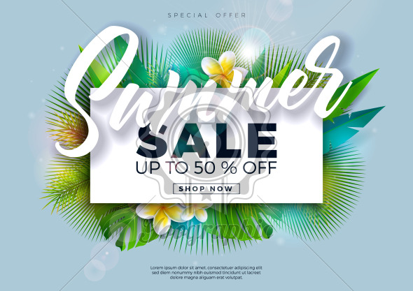 Summer Sale Design with Flower and Exotic Palm Leaves on Blue Background. Tropical Vector Special Offer Illustration with Typography Letter for Coupon, Voucher, Banner, Flyer, Promotional Poster, Invitation or greeting card. - Royalty Free Vector Illustration