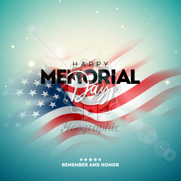 Memorial Day of the USA Vector Design Template with Blured American Flag on Light Background. National Patriotic Celebration Illustration for Banner, Greeting Card, Invitation or Holiday Poster. - Royalty Free Vector Illustration