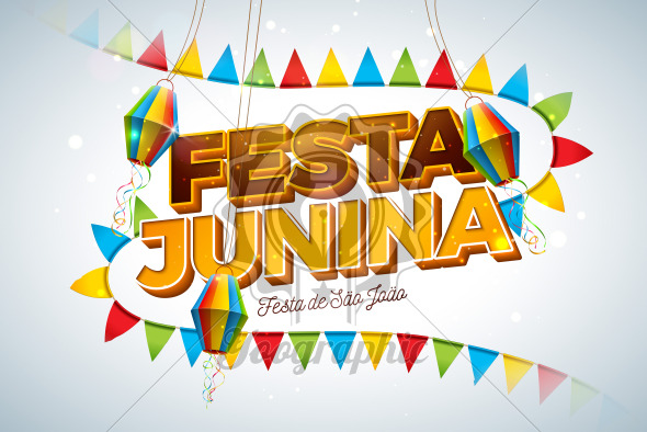 Festa Junina Illustration with Party Flags, Paper Lantern and 3d Letter on Light Background. Vector Brazil June Festival Design for Greeting Card, Invitation or Holiday Poster. - Royalty Free Vector Illustration