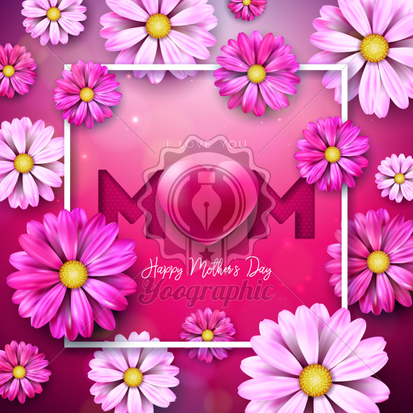 I Love You Mom. Happy Mother's Day Greeting Card Design with Flower and Red Heart on Pink Background. Vector Celebration Illustration Template for Banner, Flyer, Invitation, Brochure, Poster. - Royalty Free Vector Illustration