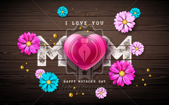 I Love You Mom. Happy Mother's Day Greeting Card Design with Heart and Pearl on Vintage Wood Background. Vector Celebration Illustration Template for Banner, Flyer, Invitation, Brochure, Poster. - Royalty Free Vector Illustration