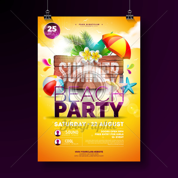 Vector Summer Beach Party Flyer Design with Flower, Palm Leaves, Beach Ball and Starfish on Yellow Background. Summer Holiday Illustration with Vintage Wood Board, Tropical Plants and Cloudy Sky for Celebration Poster, Banner, Flyer or Invitation. - Royalty Free Vector Illustration