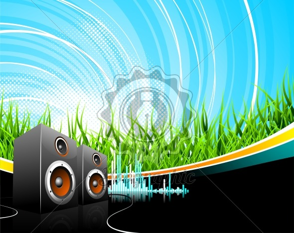 Music illustration with speakers on a field background. - Royalty Free Vector Illustration