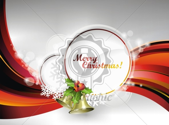 Vector Christmas illustration with holly and bells on text space - Royalty Free Vector Illustration