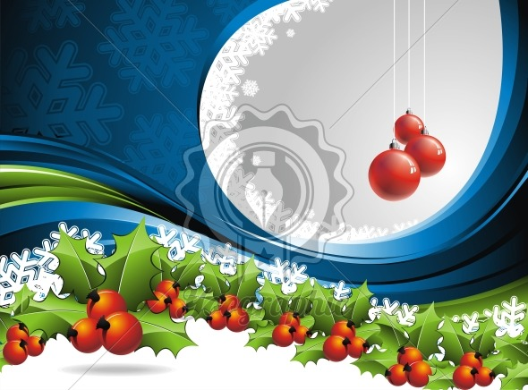 Vector Christmas design with hollys on blue background - Royalty Free Vector Illustration