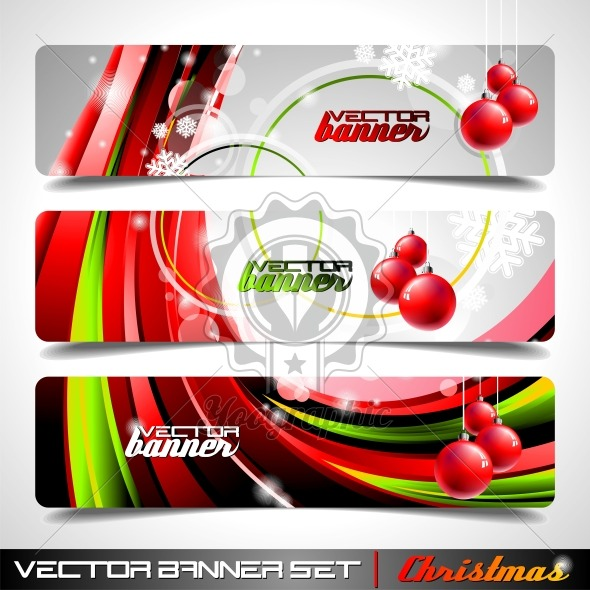 Vector banner set on a Christmas theme. - Royalty Free Vector Illustration