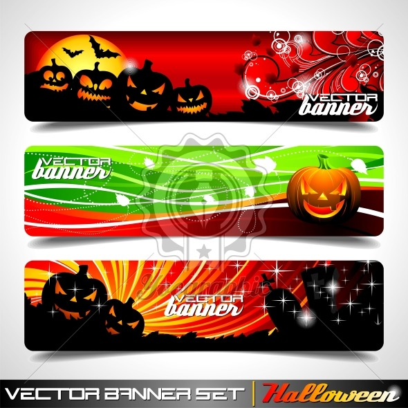 Vector banner set on a Halloween theme. - Royalty Free Vector Illustration