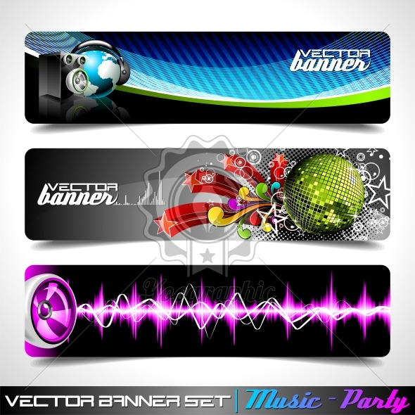 Vector banner set on a Music and Party theme. - Royalty Free Vector Illustration