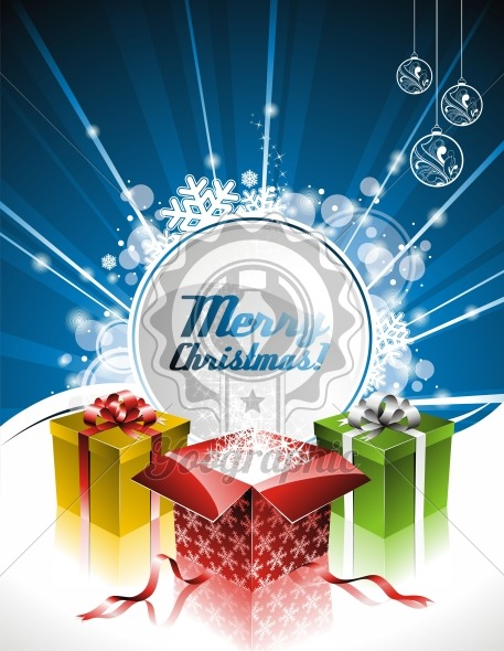 Vector holiday illustration on a Christmas theme with gift box and clear banner for your text. - Royalty Free Vector Illustration