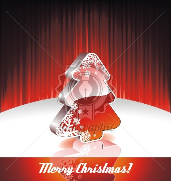 Vector illustration on a Christmas theme with 3d christmas tree on red background. - Royalty Free Vector Illustration