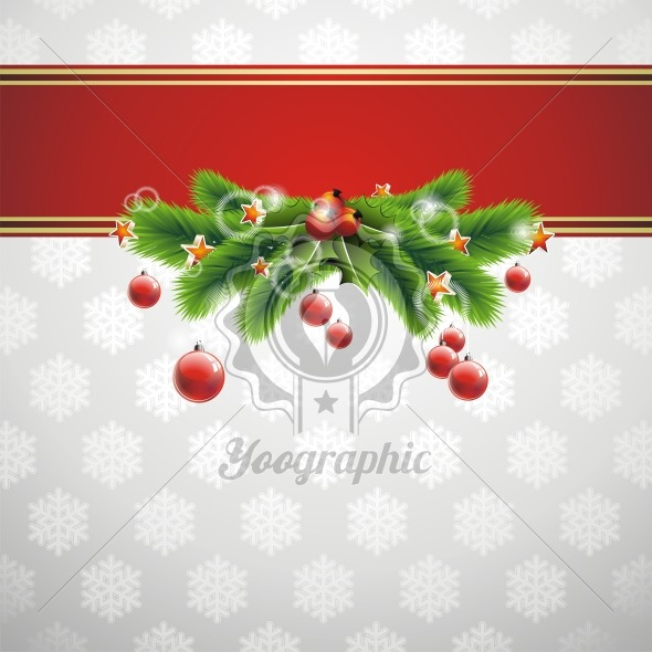 Christmas illustration with with shiny glass ball on snowflakes background. - Royalty Free Vector Illustration