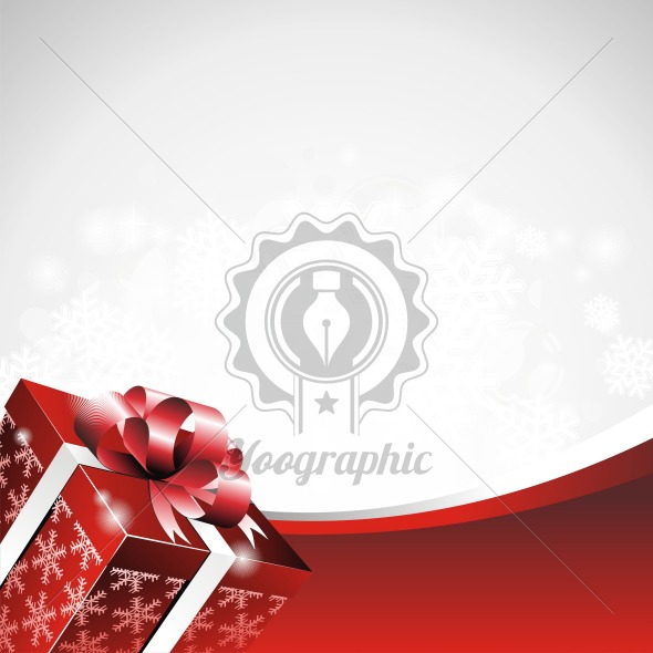 Vector Christmas illustration with gift box. - Royalty Free Vector Illustration