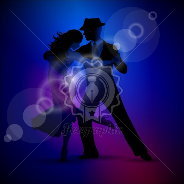 Vector design with couple dancing tango on dark background. - Royalty Free Vector Illustration
