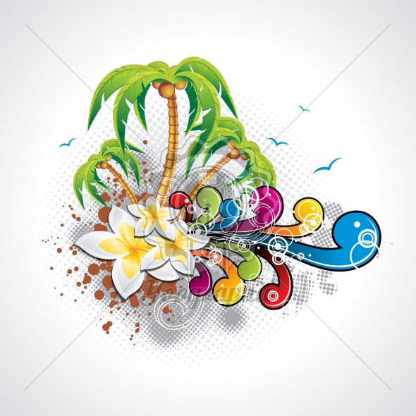 Vector Summer Holiday Design with palm trees. - Royalty Free Vector Illustration