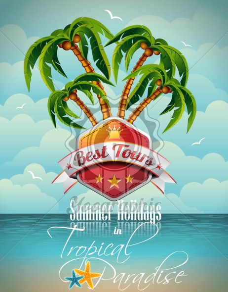 Vector Summer Holiday Flyer Design with palm trees. - Royalty Free Vector Illustration