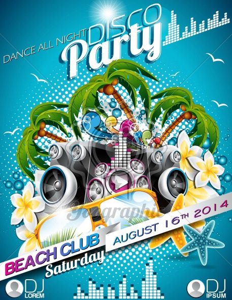 Vector Disco Party Flyer Design with speakers and sunglasses on blue background. Eps10 illustration. - Royalty Free Vector Illustration