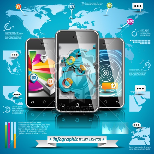 Vector design set of infographic elements world map and information vector design set of infographic elements world map and information graphics on mobile phone eps 10 illustration royalty free vector illustration gumiabroncs Images
