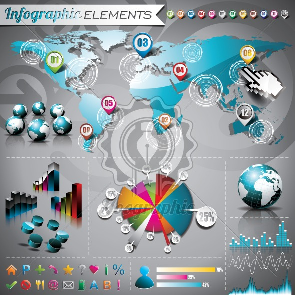 Vector design set of infographic elements. World map and information graphics. - Royalty Free Vector Illustration