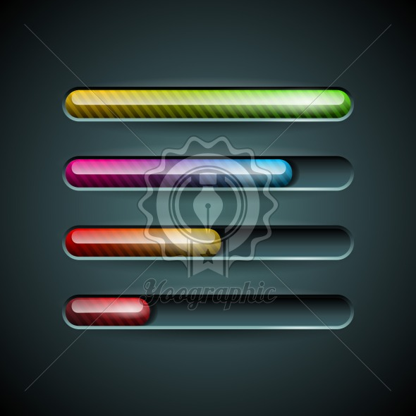 Vector shiny progress indicator set on a dark background. - Royalty Free Vector Illustration