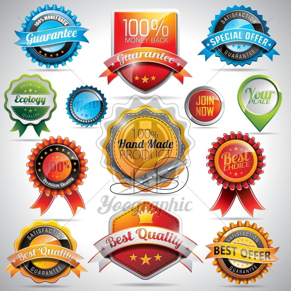 Vector set of labels and badges illustration with shiny styled design on a clear background. - Royalty Free Vector Illustration